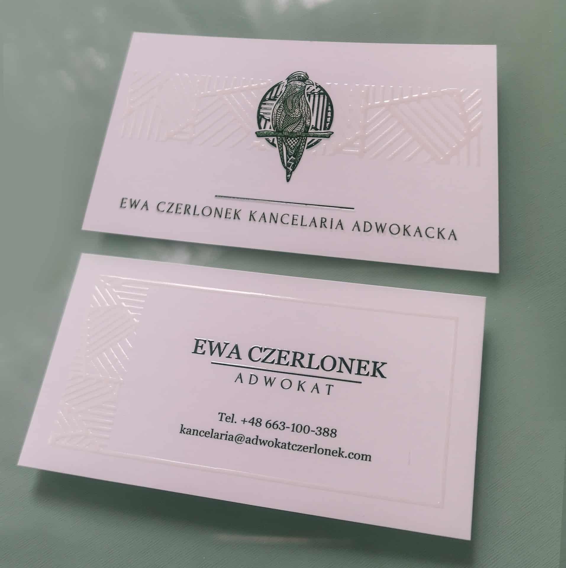 wizytówki z nadrukiem dla Adwokat Ewy Czerlonek