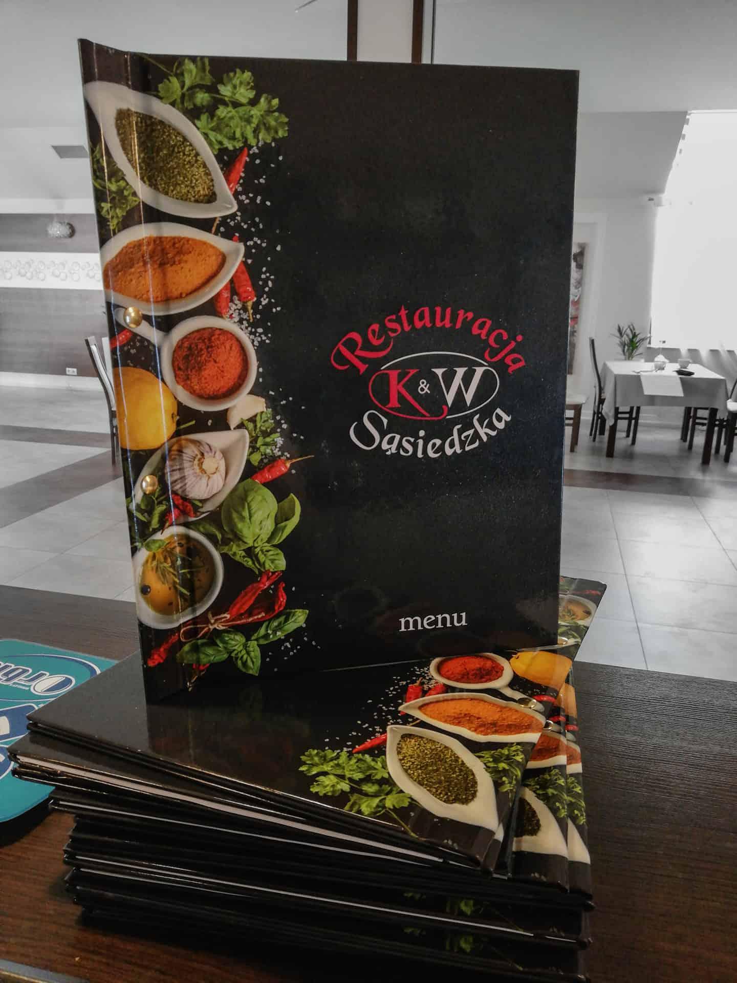 Okładki Menu z nadrukiem restauracji K&W Sąsiedzka