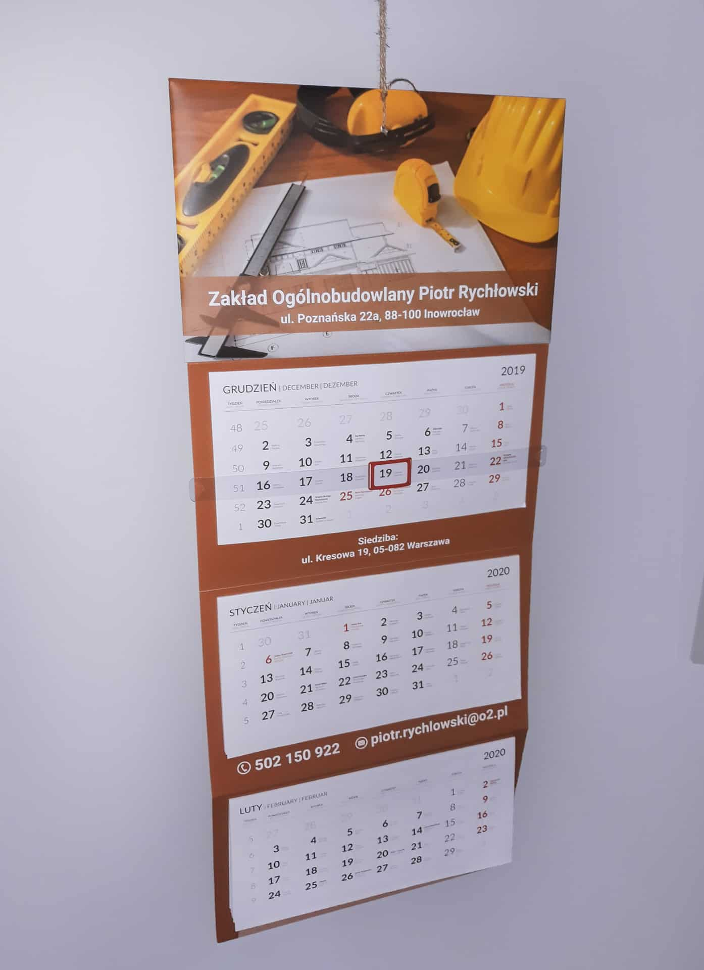 kalendarze trójdzielne z nadrukiem firmowym dla Zakładu Ogólnobudowlanego Piotr Rychłowski