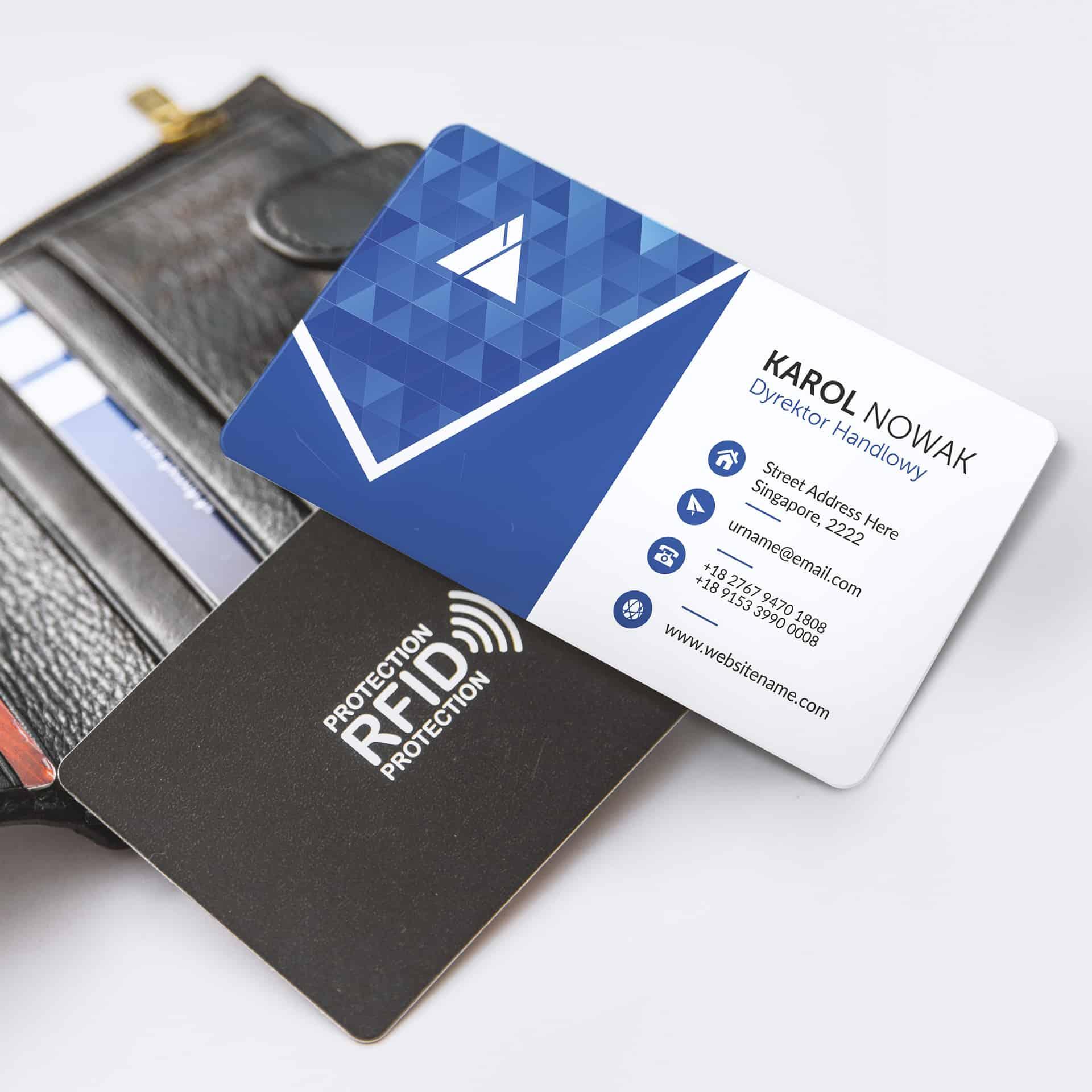 karty blokujące RFID z przykładowym nadrukiem firmowym