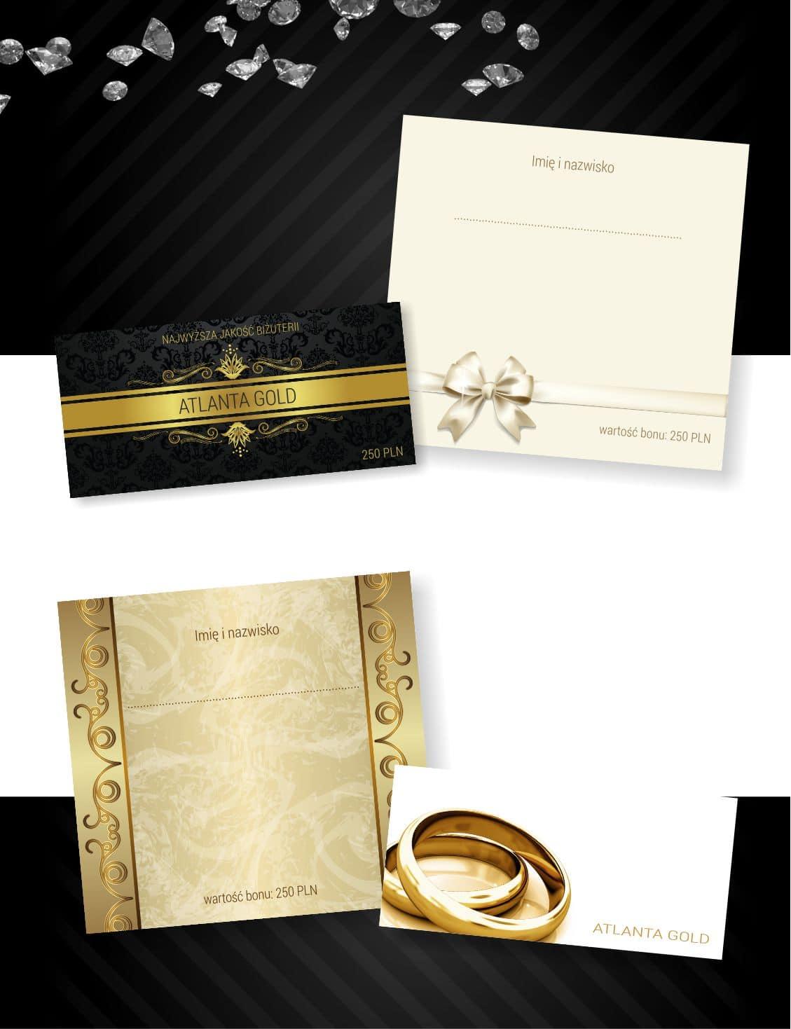 elegancki czarno-złoty bon upominkowy