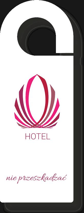 wizualizacja zawieszki hotelowej na drzwi w bialej kolorystyce