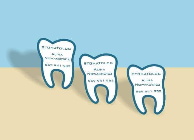 wizytówki indywidualny kształt - przykład dla dentysty