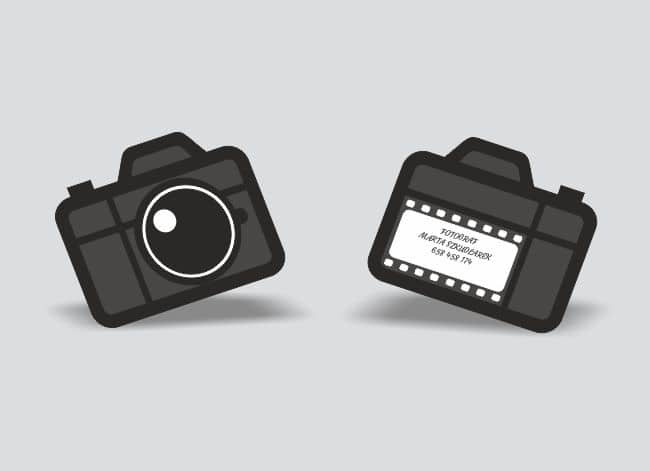 wizytówki indywidualny kształt - przykład dla fotografa