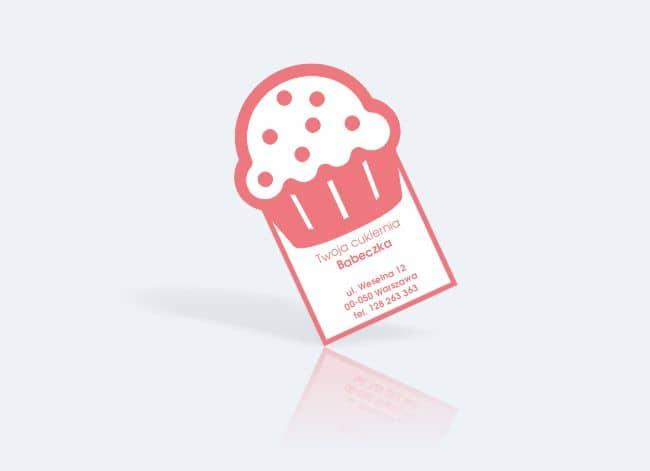 wizytówki indywidualny kształt - przykład dla cukiernii