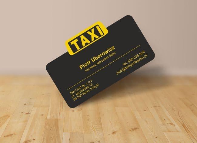 wizytówki indywidualny kształt - przykład dla taksówki
