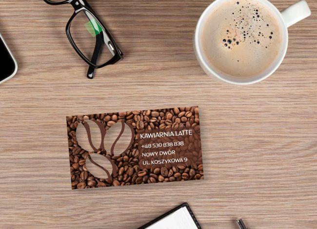 wizytówki indywidualny kształt - przykład dla kawiarni