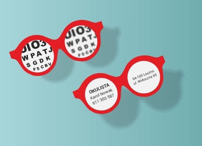 wizytówki indywidualny kształt - przykład dla okulisty