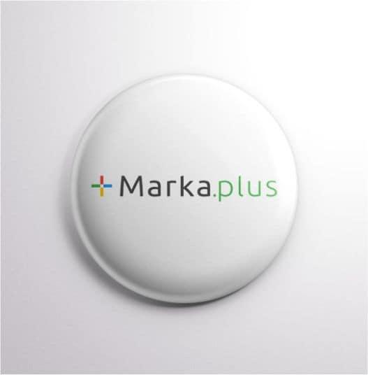 naklejka wypukła z nadrukowanym logo Marka.plus
