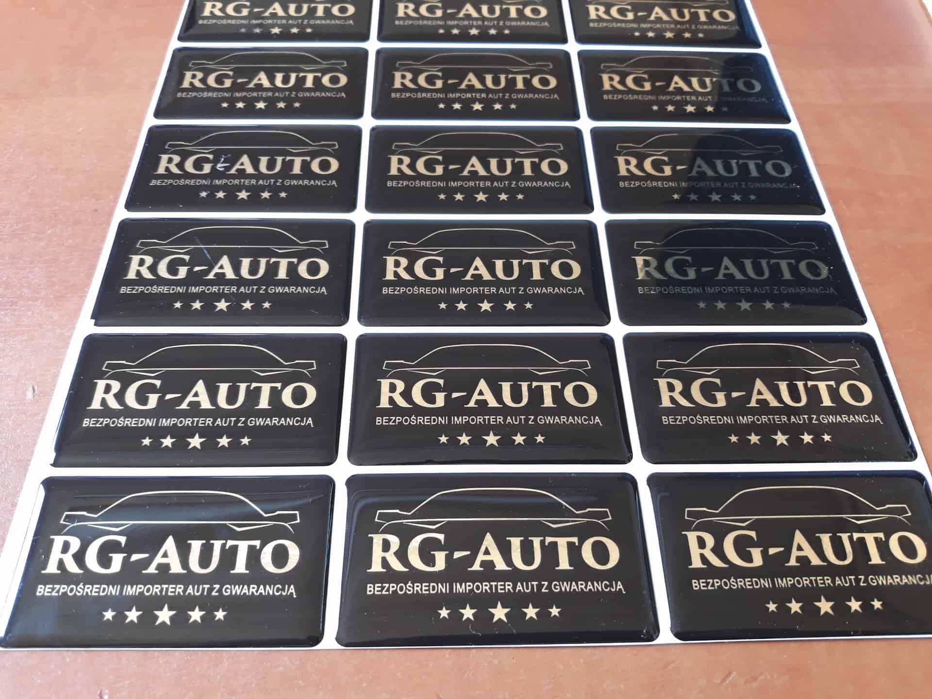 naklejki zalane żywicą z logo RG-Auto