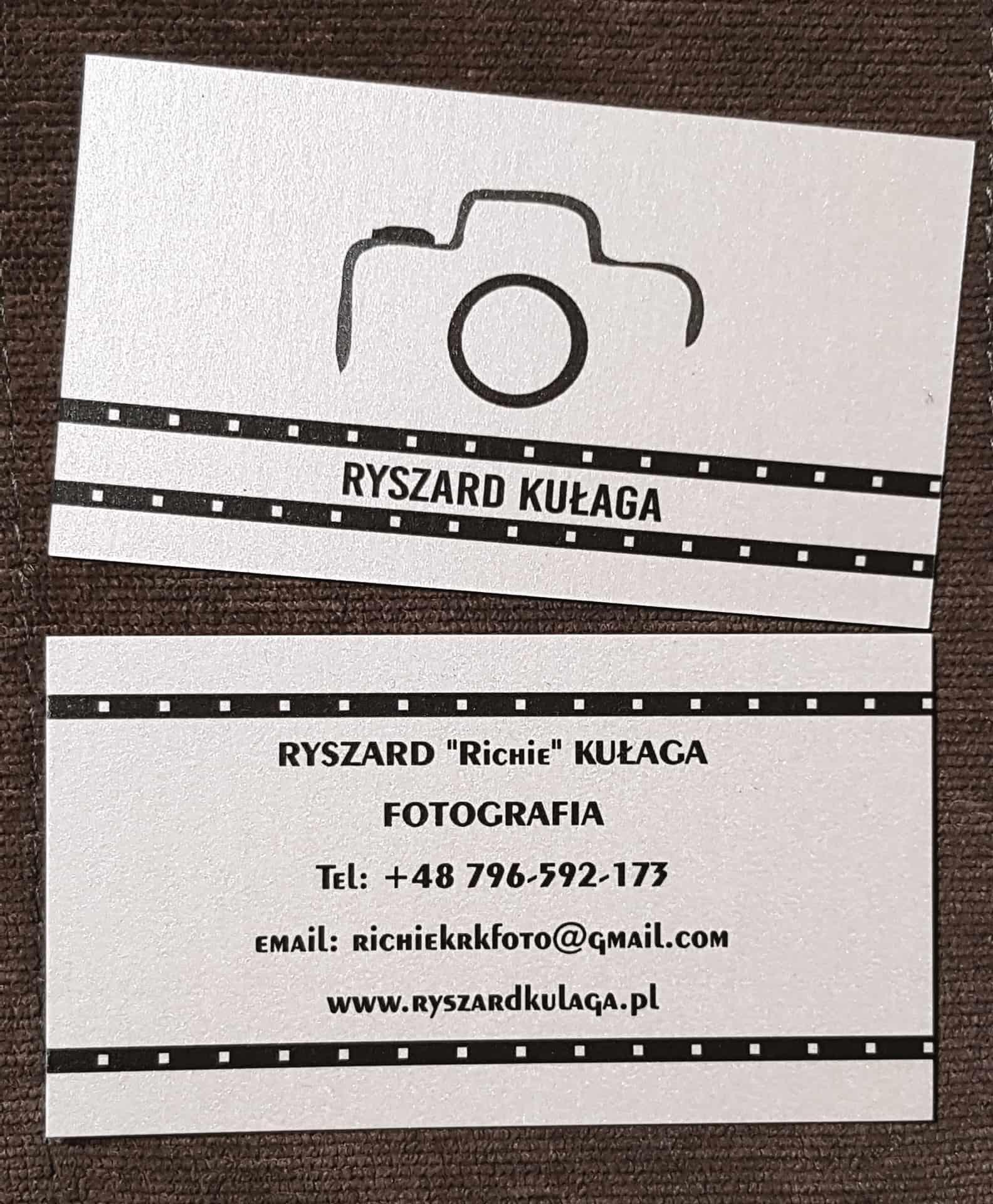 wizytówki na papierze perłowym dla Ryszard Kułaga