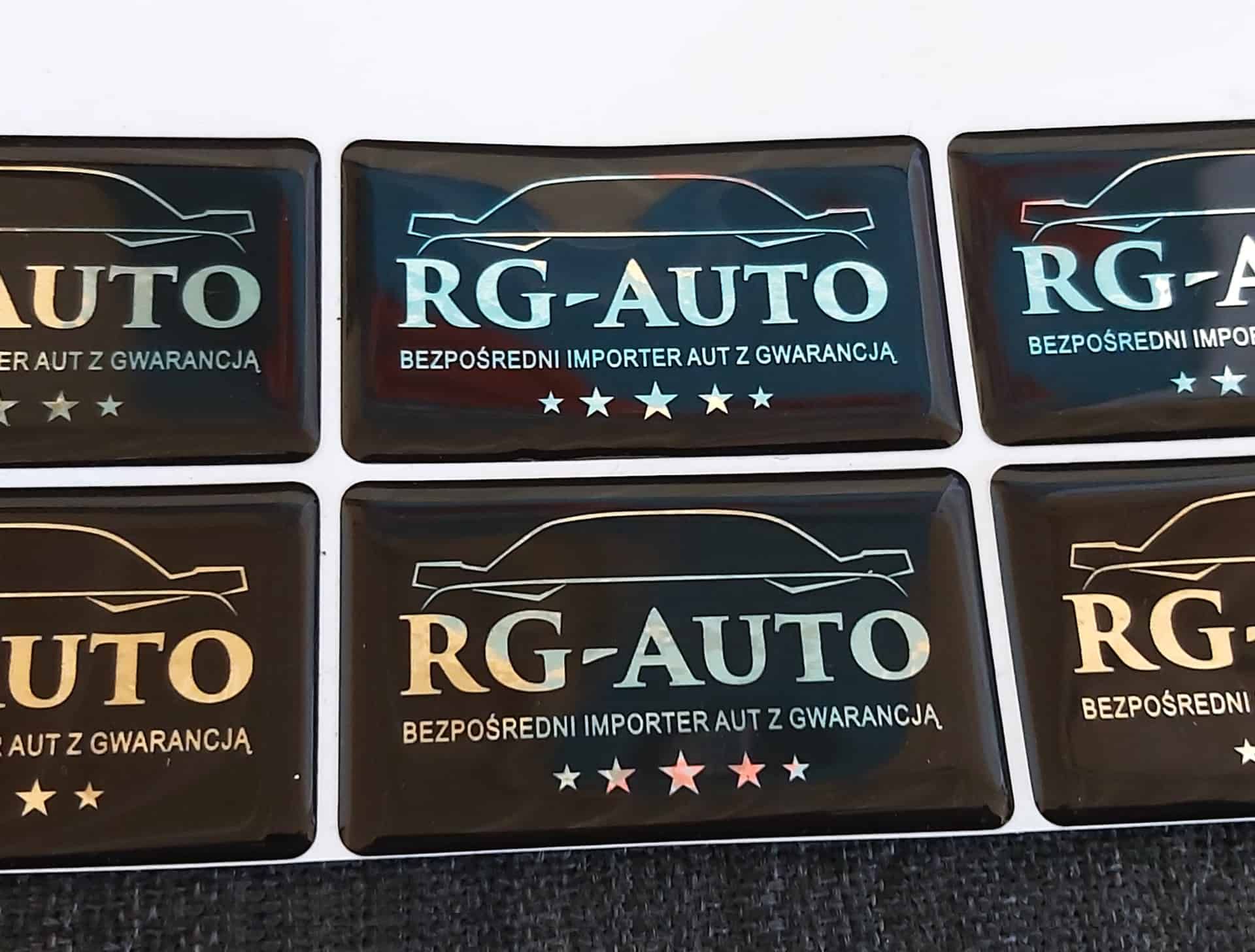 naklejki wypukłe z logo RG-Auto