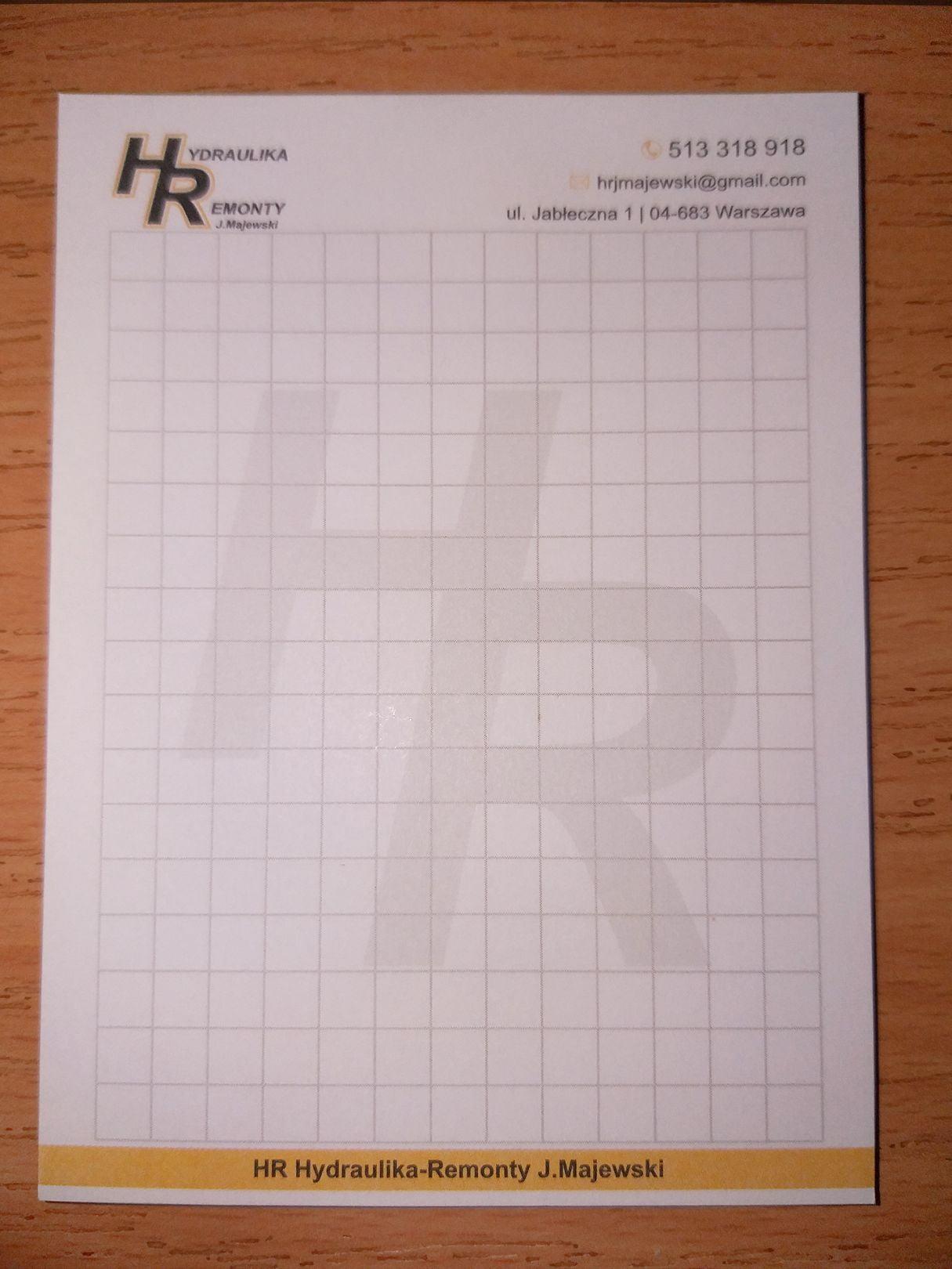 Notesy reklamowe z logo HR Hydraulika Remonty