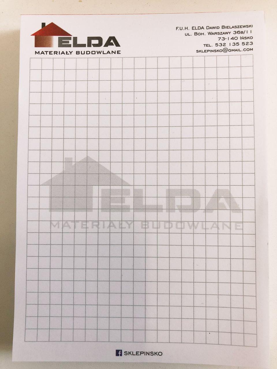 notesy reklamowe z logo elda materiały budowlane