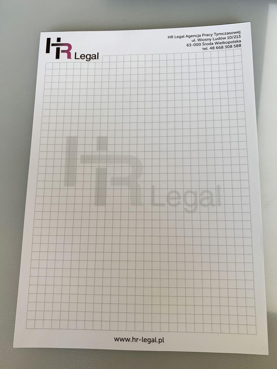 notesy reklamowe z hr legal