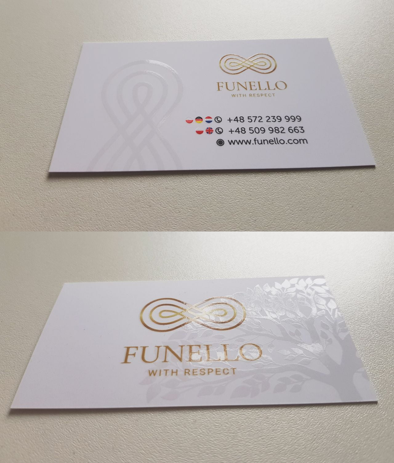 wizytówki uv z logo Funello