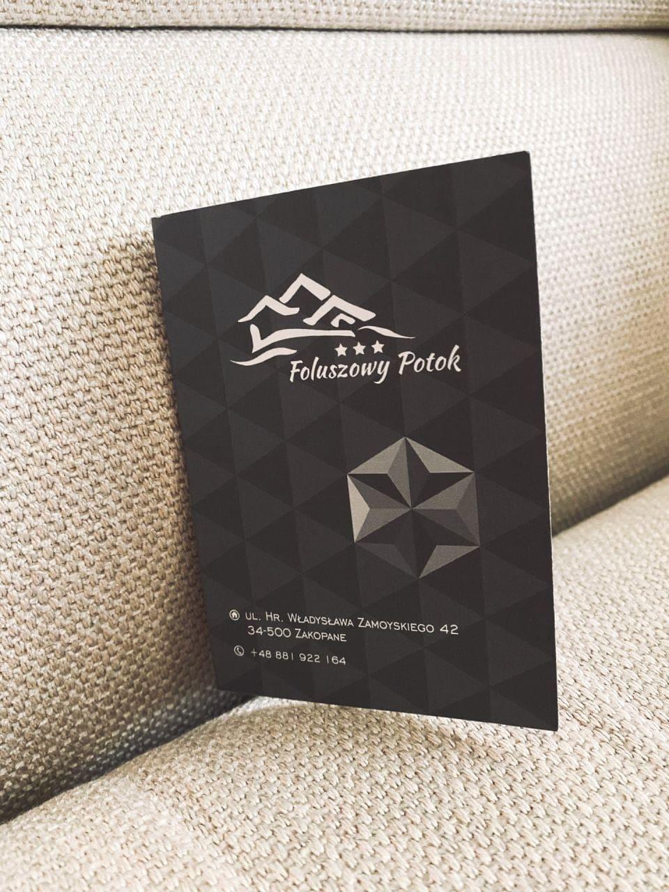 wizytówki z logo Foluszowy Potok