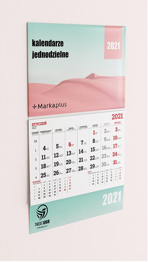 kalendarz jednodzielny z logo marka.plus