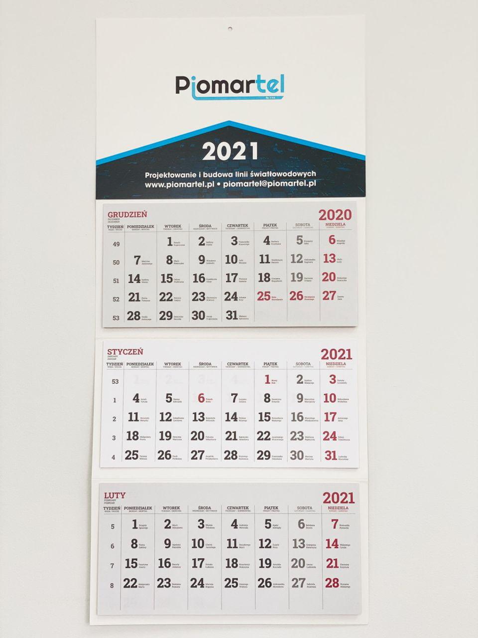kalendarze trójdzielne z logo Piomartel