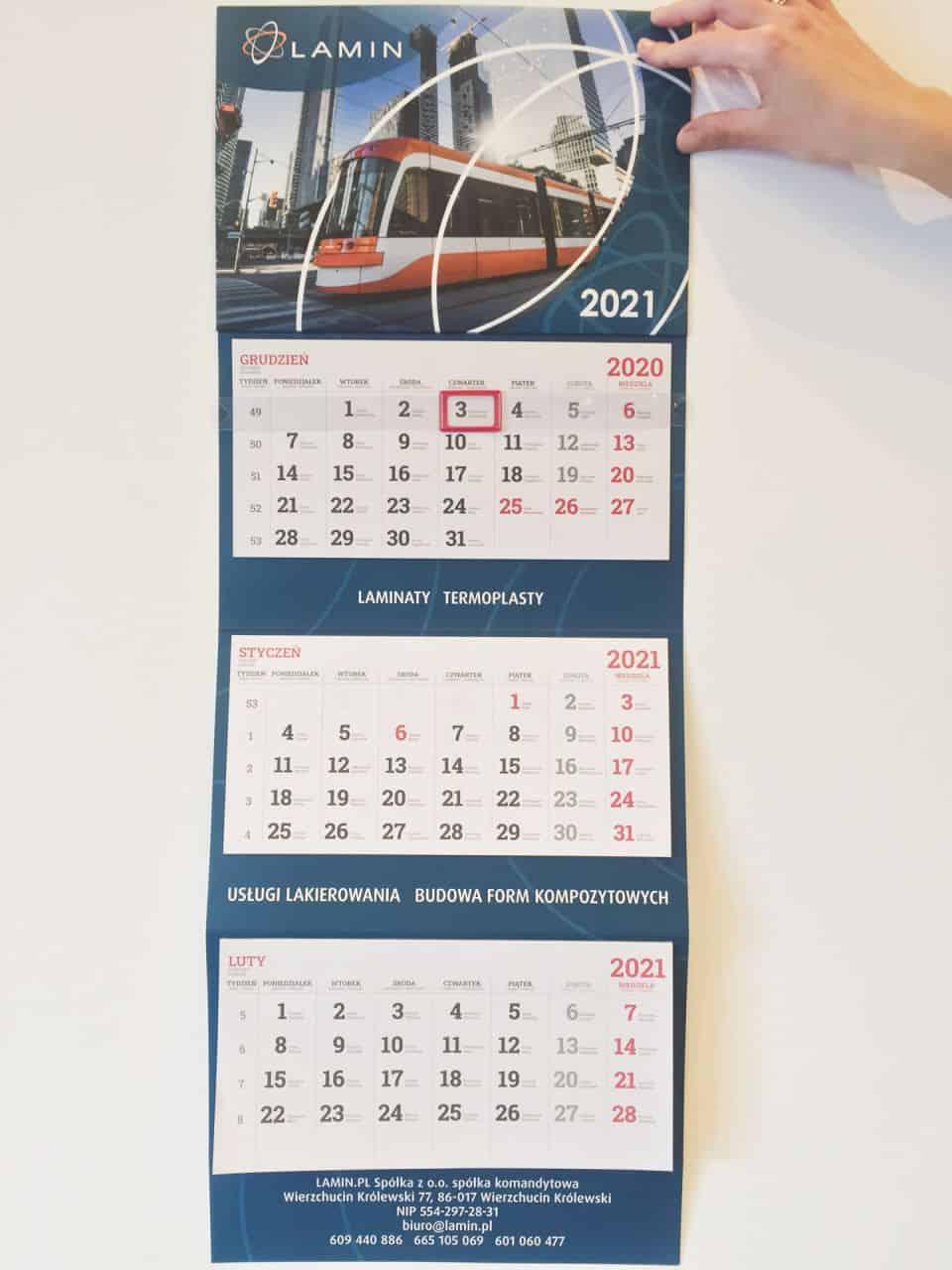 kalendarze trójdzielne z nadrukiem firmy Lamin