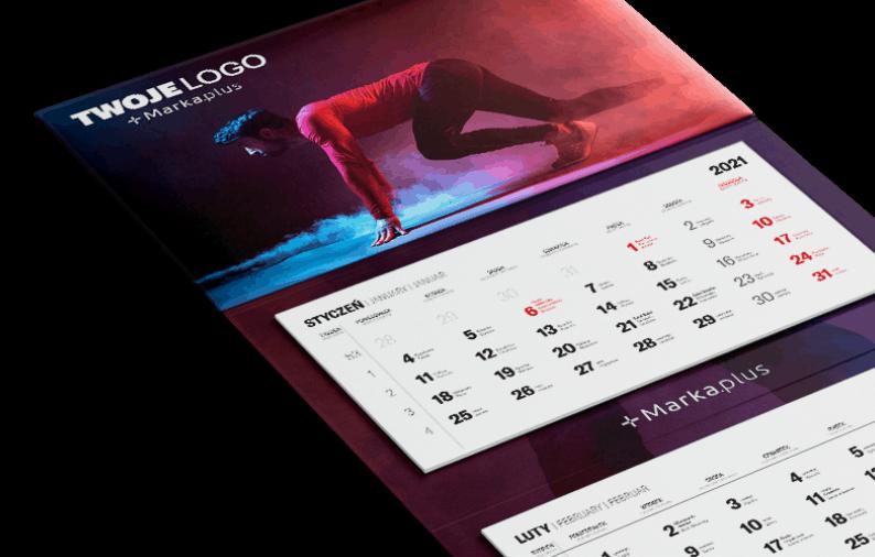 kalendarz trójdzielny z kalendarium i główką