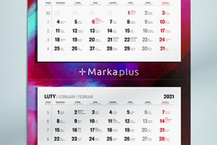 kalendarz trójdzielny z kalendarium i nadrukiem