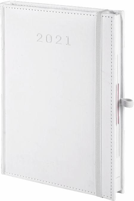 kalendarz książkowy 2021 z gumką, kolor biały