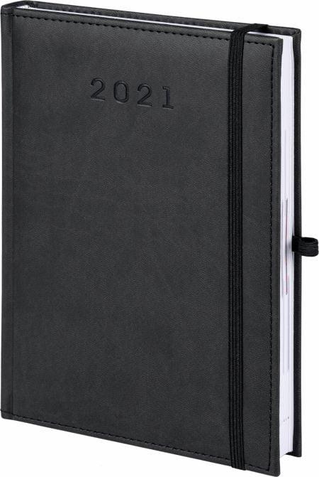 kalendarz książkowy 2021 z gumką, kolor czarny