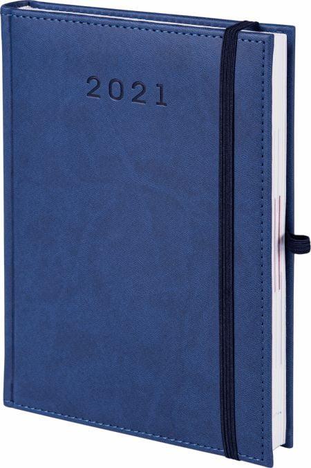 kalendarz książkowy 2021 z gumką, kolor granatowy