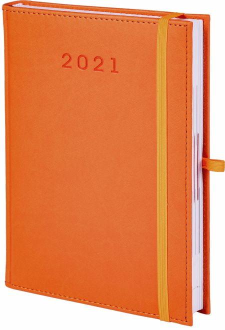 kalendarz książkowy 2021 z gumką, kolor pomarańczowy