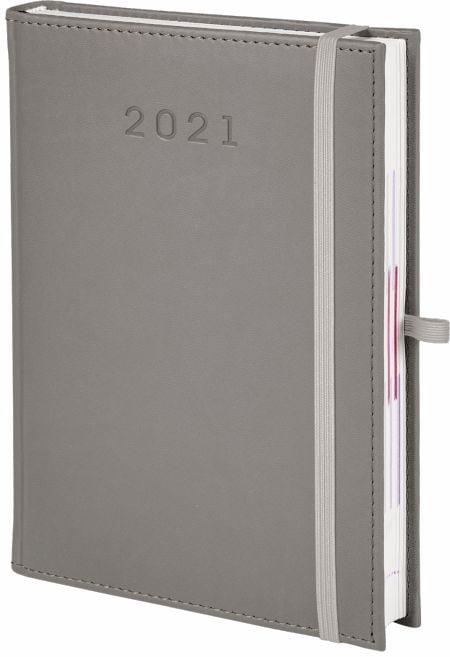 kalendarz książkowy 2021 z gumką, kolor szary