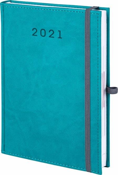 kalendarz książkowy 2021 z gumką, kolor turkusowy