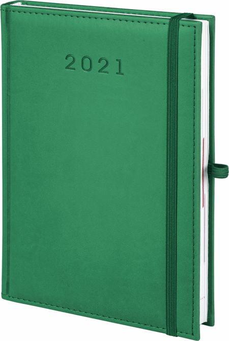 kalendarz książkowy 2021 z gumką, kolor zielony