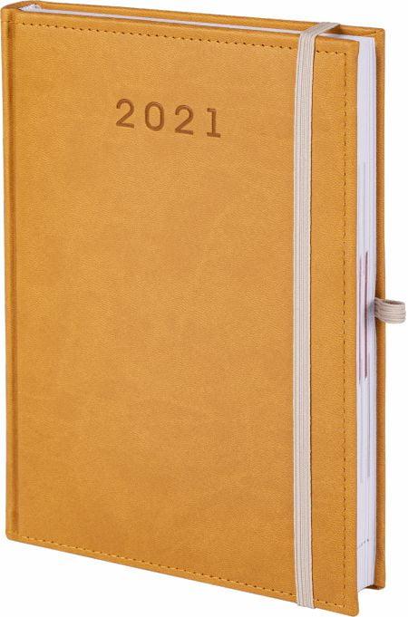 kalendarz książkowy 2021 z gumką, kolor żółty