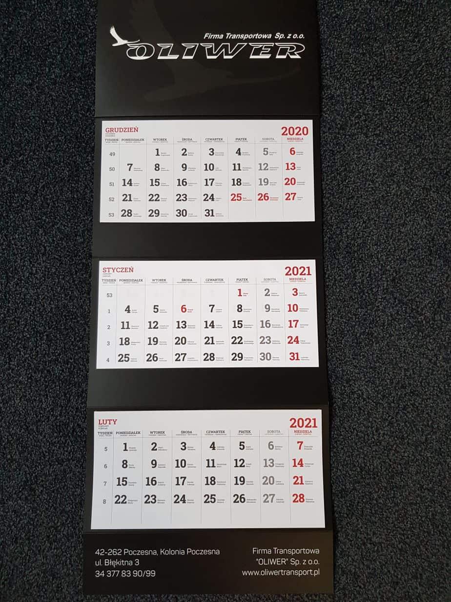 kalendarze trójdzielne z logo Oliwer