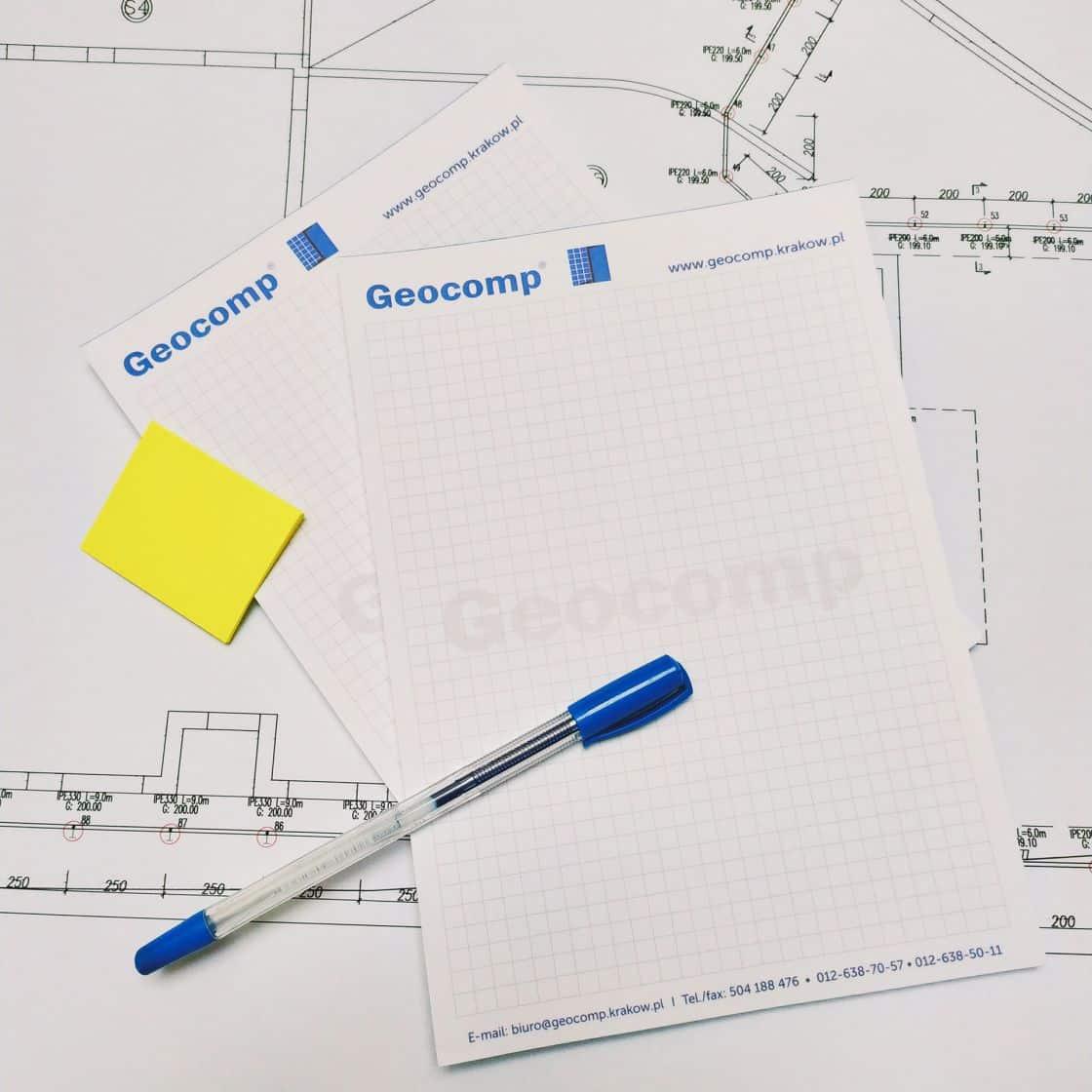 notesy z logo Geocomp