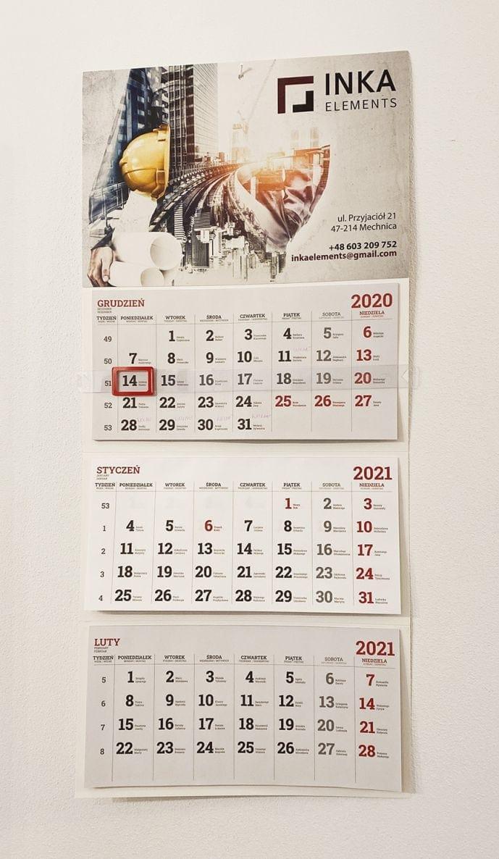 kalendarze trójdzielne z logo Inka Elements