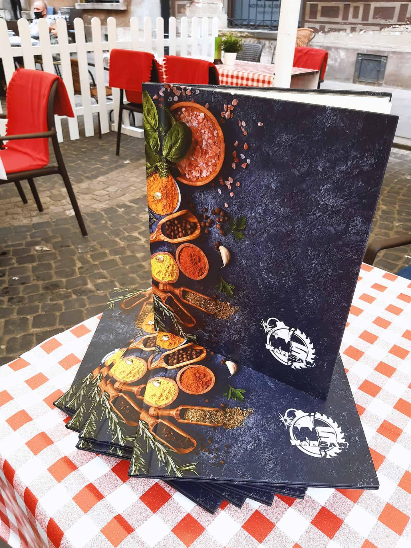 okładki menu z logo Warsaw