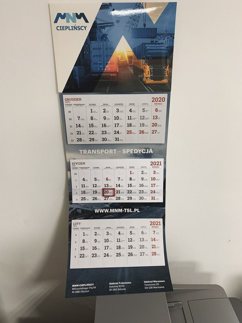 kalendarze trójdzielne ścienne z nadrukiem MNM Cieplińscy