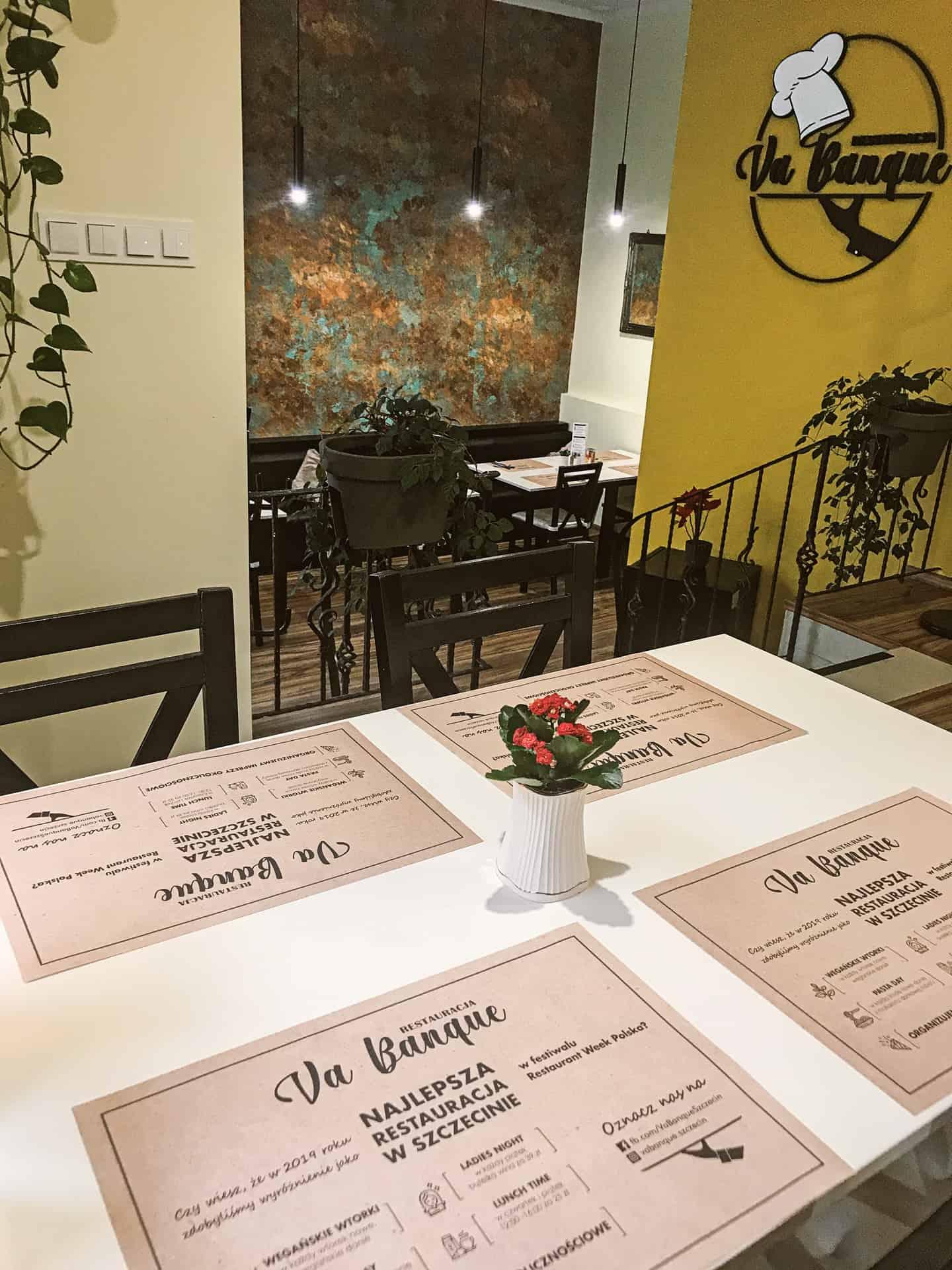 podkładki na stół z nadrukiem dla restauracji Va Banque