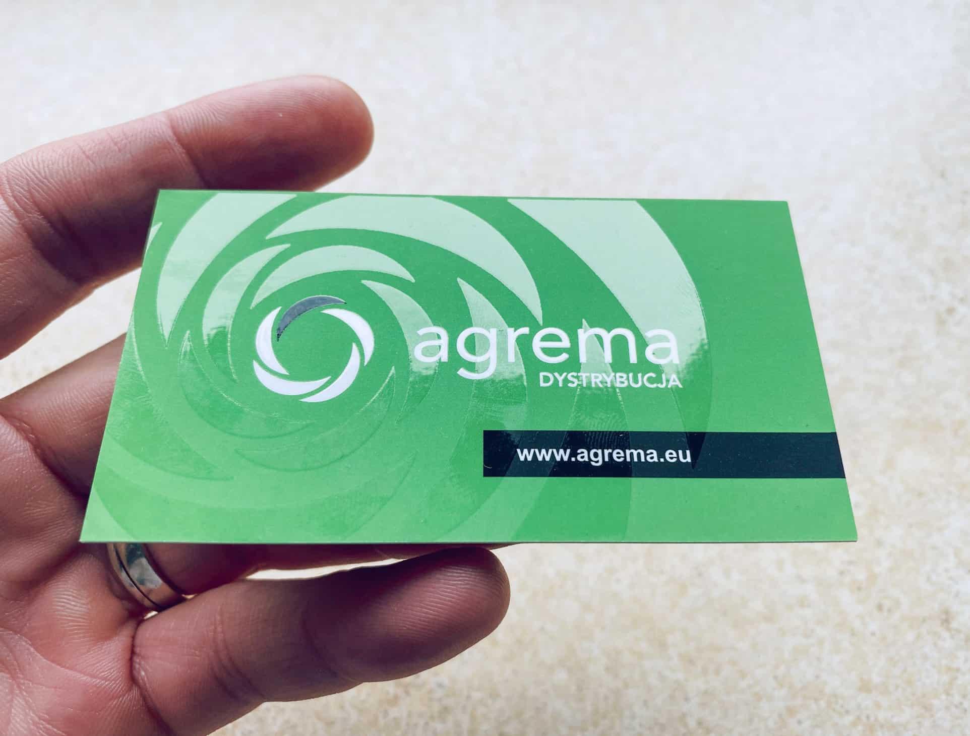 wizytówki z lakierem wybiórczym dla agrema