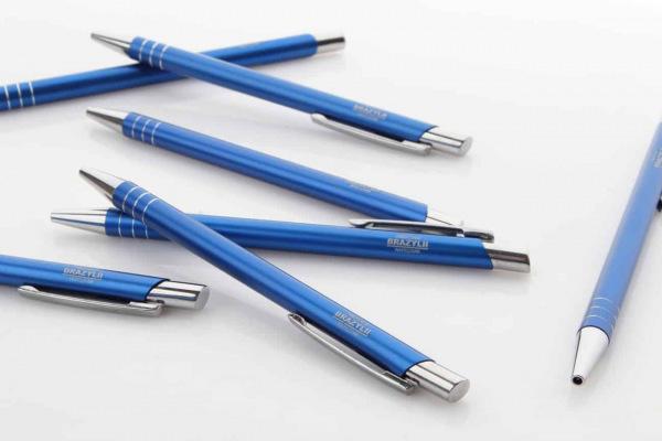 niebieskie długopisy z grawerem Ambasada Brazylii