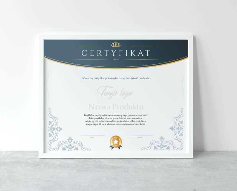 certyfikaty z nadrukiem