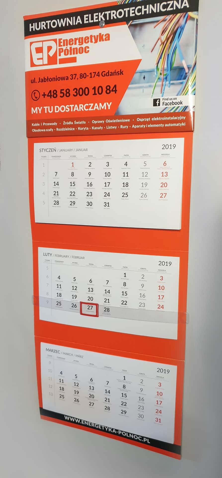 kalendarze reklamowe trójdzielne z logo Energetyka Północ