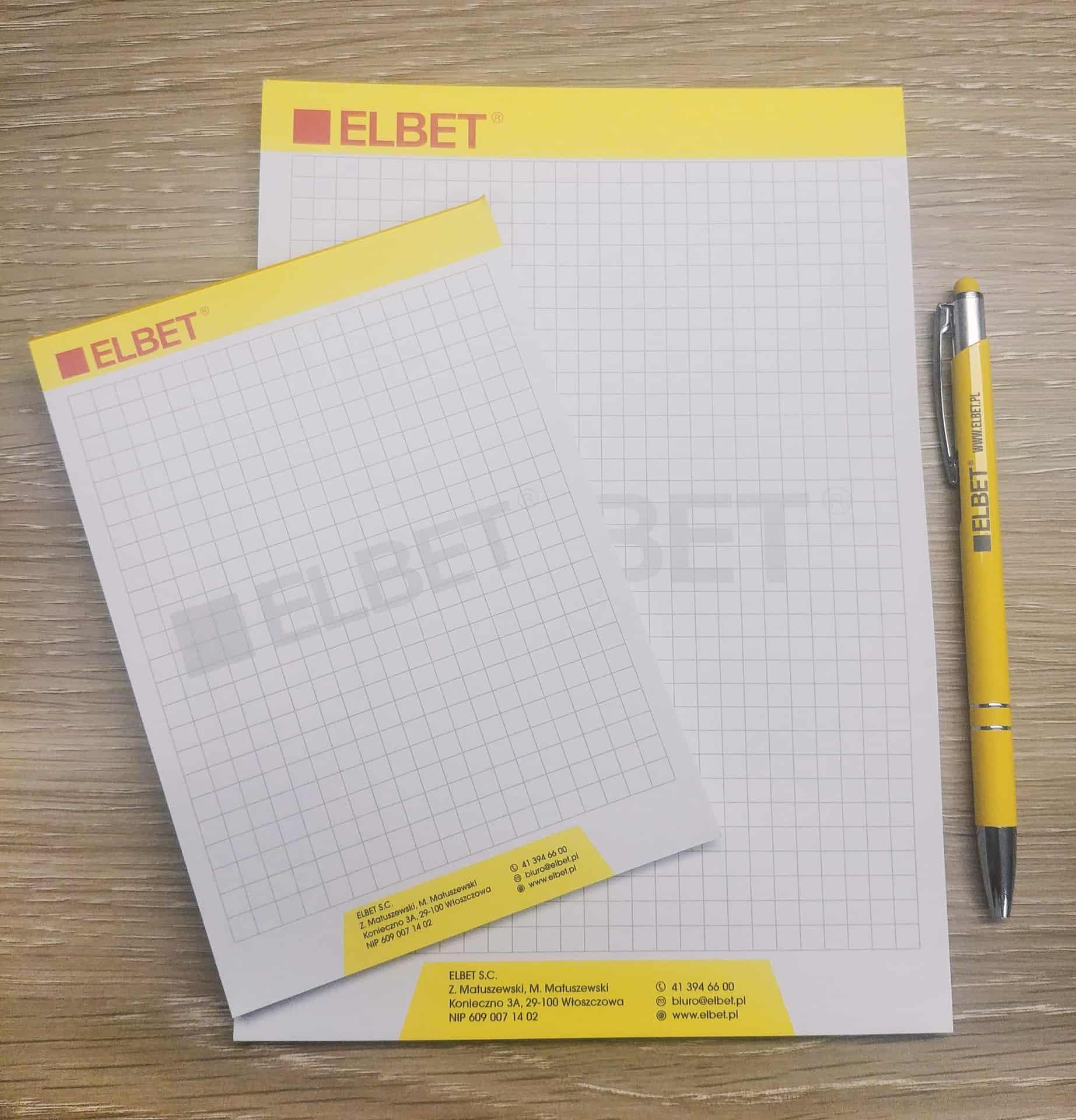notesy reklamowe z logo Elbet