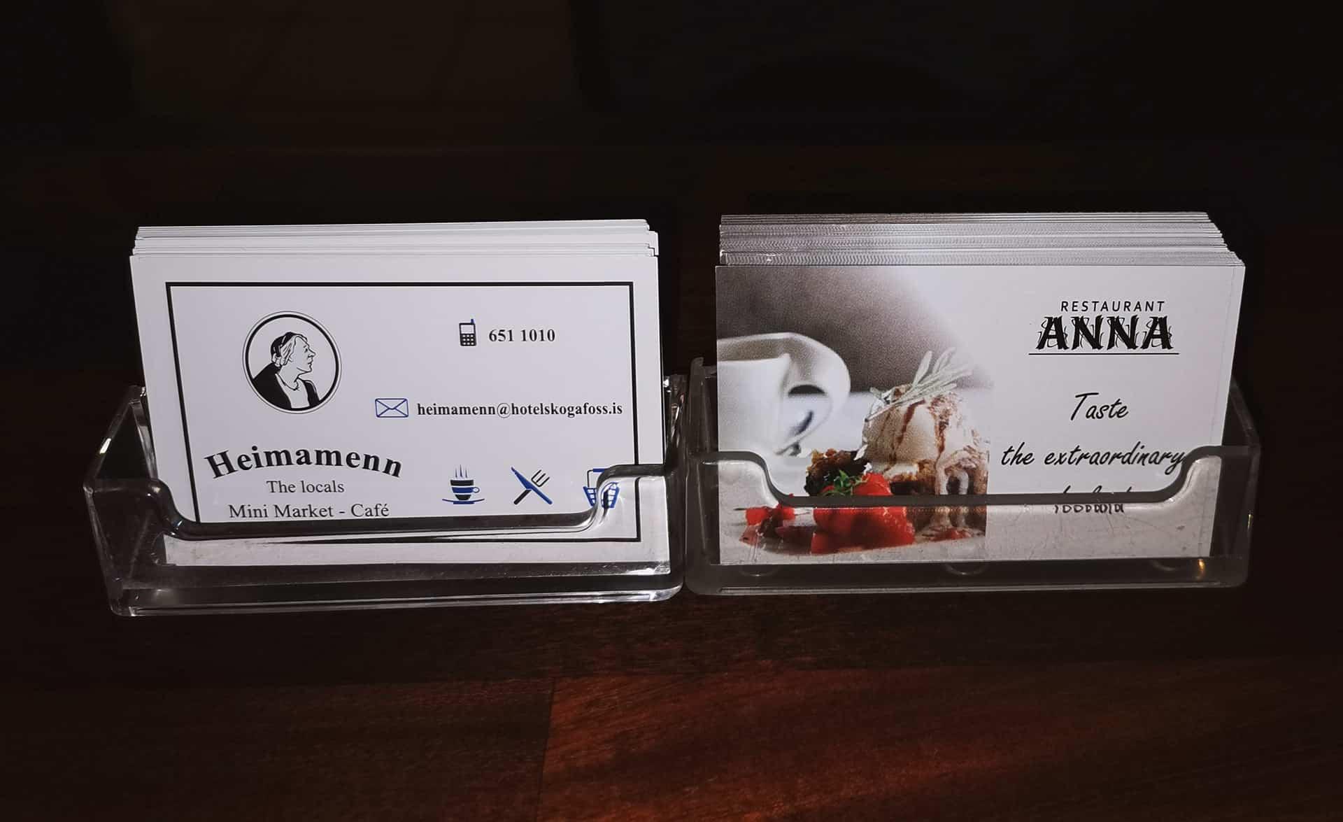 wizytówki firmowe dla restauracji Anna