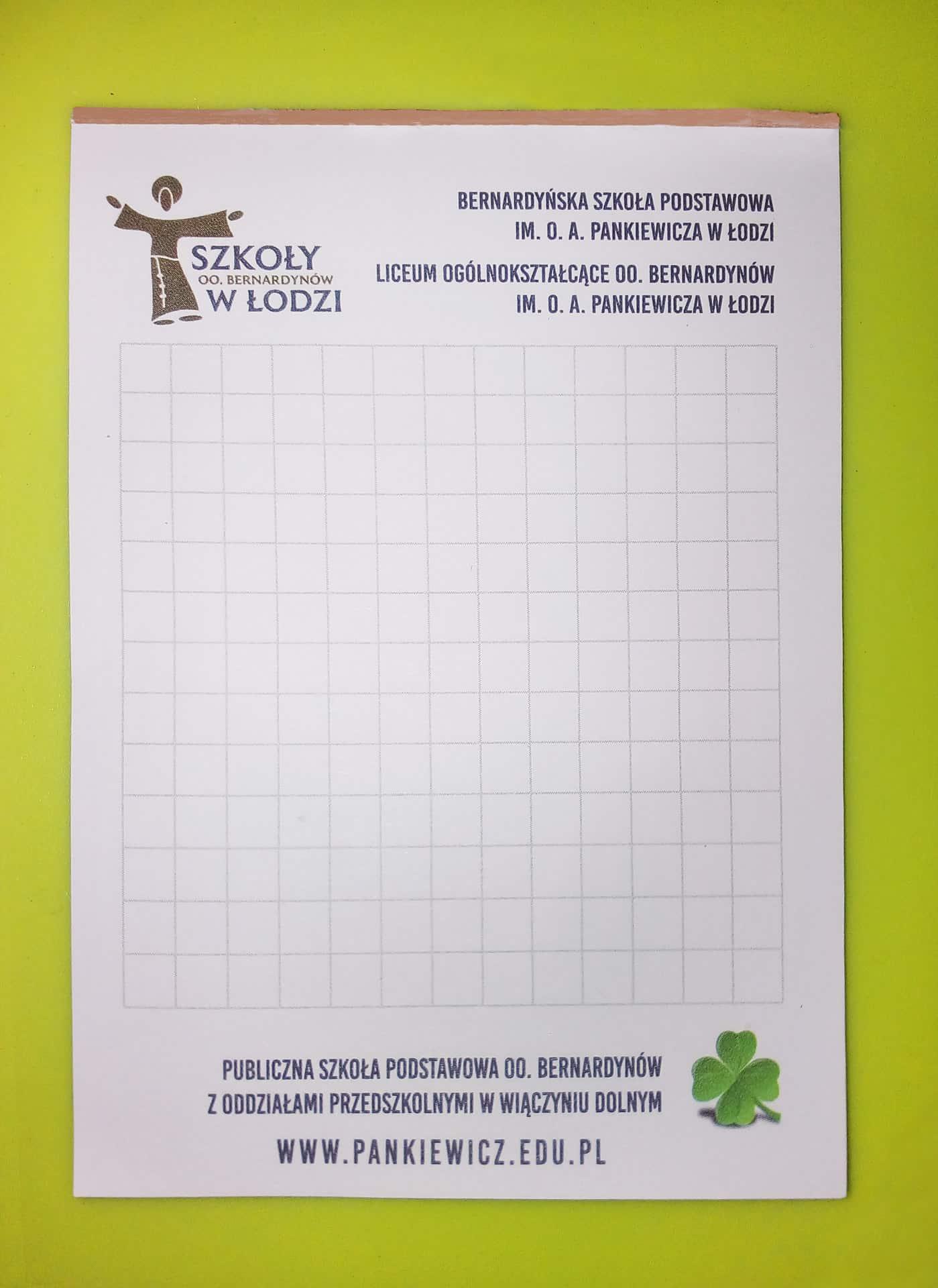 notesy reklamowe dla Berdardyńska Szkoła Podstawowa