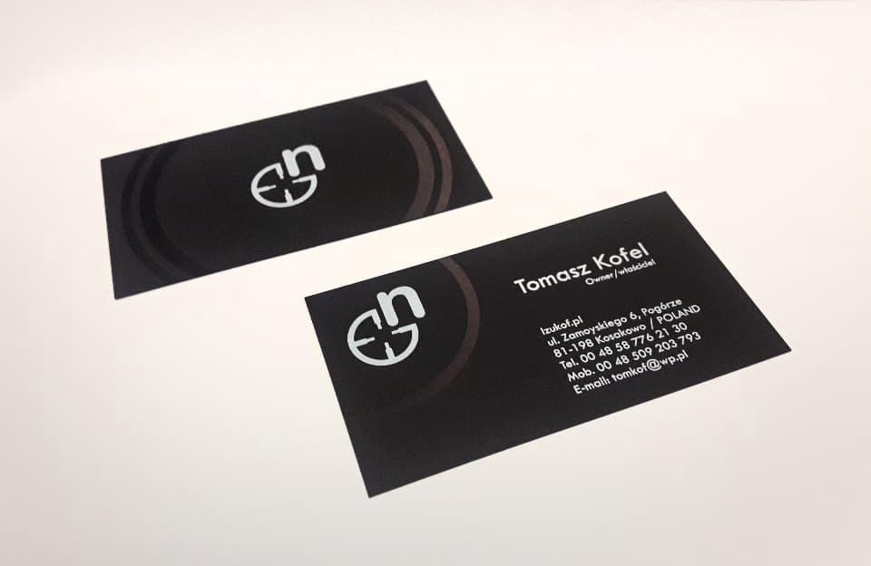 wizytówki na czernym barwionym papierze dla Tomasz Kofel