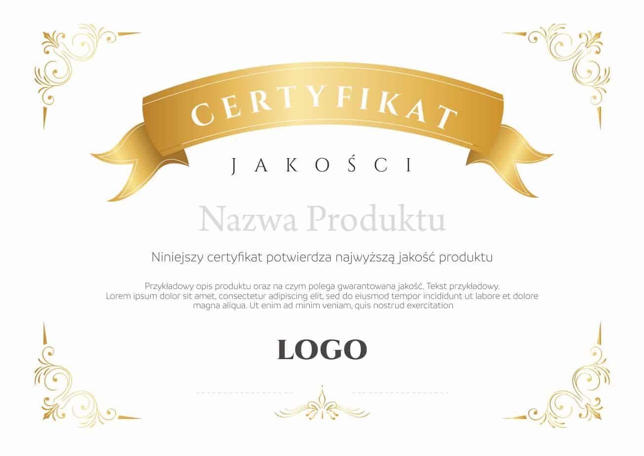 wzór certyfikatu z logo firmowym