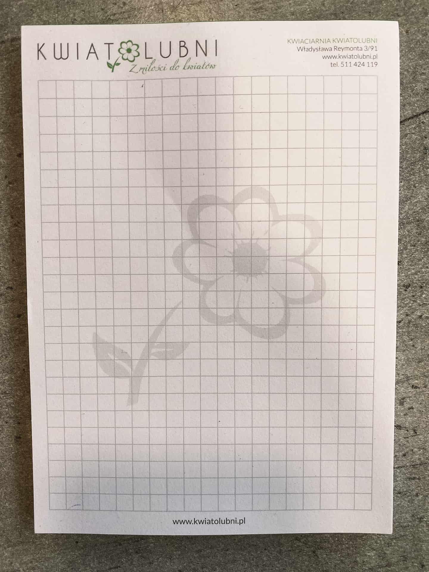notesy firmowe z logo kwiatolubni